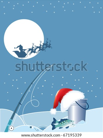 Santa fishing . Christmas cartoons with fishing elements in winter. - stock vector