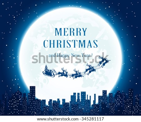 Santa flies over the city on Moon background, illustration.