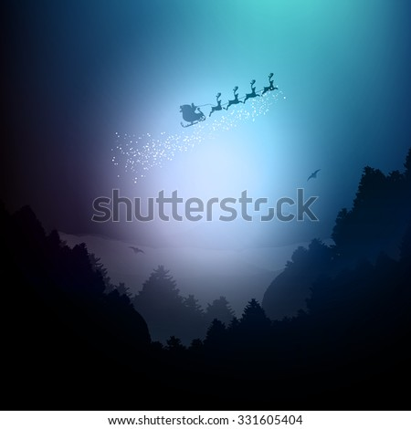 Santa flying over a landscape of mountains and trees
