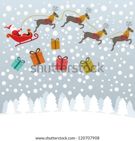 Santa flying with reindeer in sleigh and gifts boxes falling down above snowy landscape - stock vector