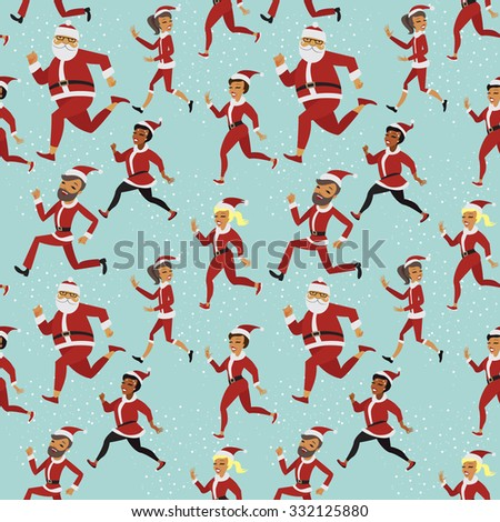 Santa fun run participants seamless vector pattern - stock vector