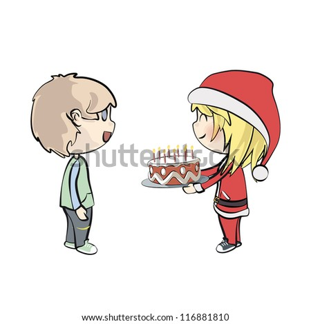 Santa girl giving a cake with candles. Vector illustration. - stock vector
