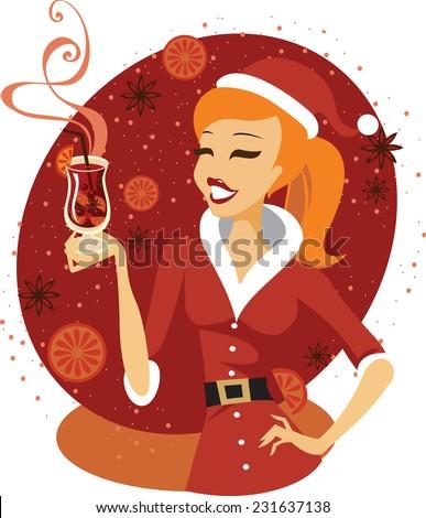 Santa girl holding glass of mulled wine - stock vector