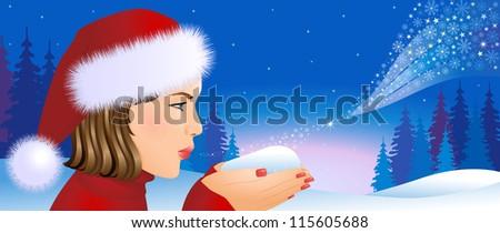 Santa girl on Christmas background - stock vector