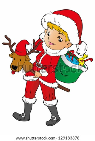 Santa girl with a gift in a red cap. Vector illustration for Christmas greetings