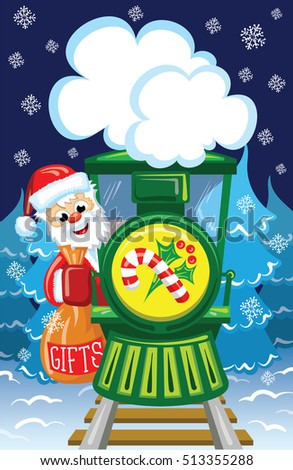 Santa goes by train with bag of gifts among night winter forest. Christmas scene with falling snowflakes at winter snow night.