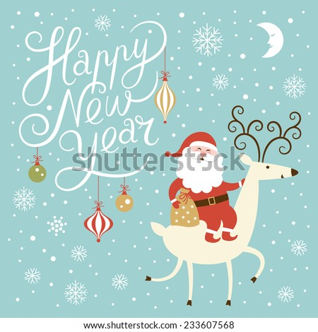 Santa goes on deer  - stock vector