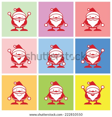 Santa graphic with happy, sad and boring emotions vector - stock vector