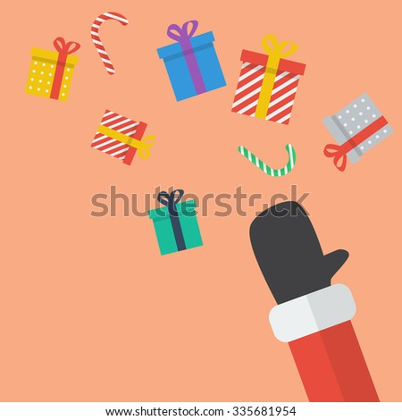 Santa Hand Throw Christmas Gift box. flat style - stock vector