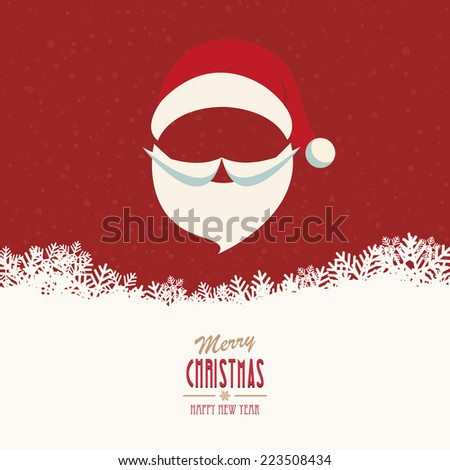 santa hat and beard snowy winter background - stock vector
