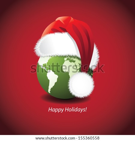Santa Hat and globe Christmas New Year's Card design. Portions of this image supplied by NASA. EPS 10 vector, grouped for easy editing. No open shapes or paths. - stock vector