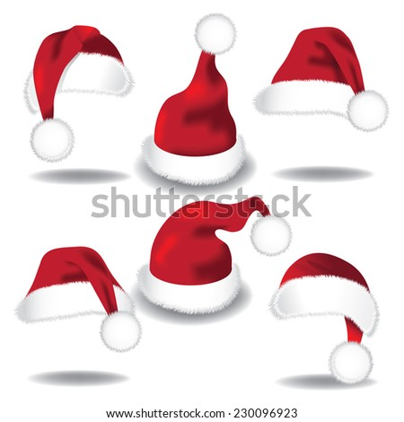 Santa hat collection isolated on white EPS 10 vector