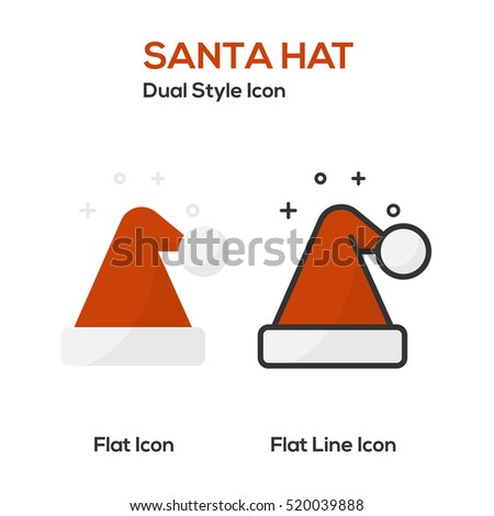 Santa Hat Flat Icon And Flat Line Icon