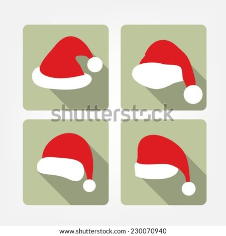 Santa hat flat icons - stock vector