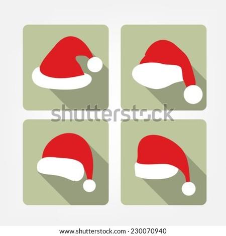 Santa hat flat icons - stock vector