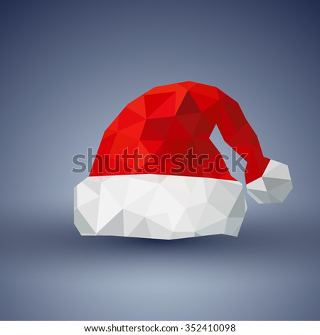 Santa Hat in Polygon flat icon design and gray background(vector) - stock vector