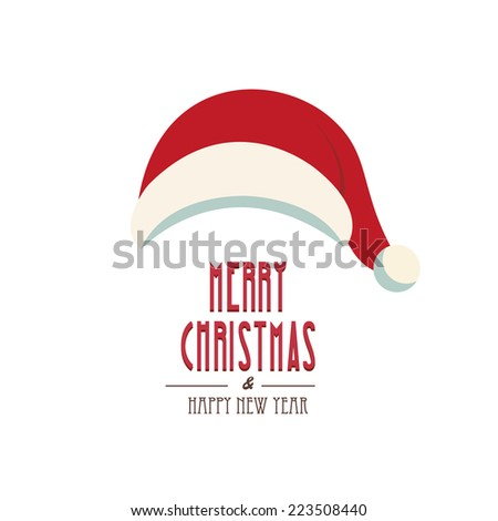 santa hat merry christmas isolated background - stock vector