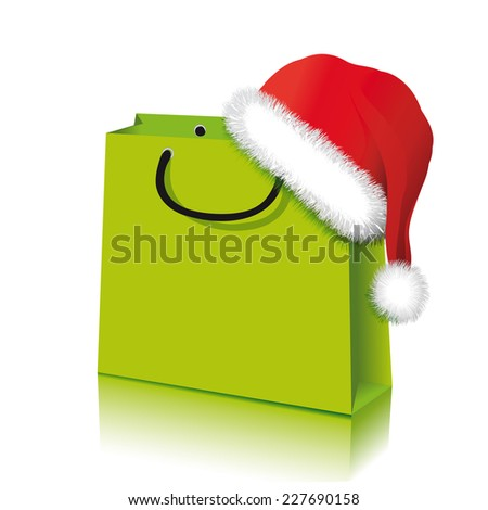 Santa hat with shopping bag, Vector Illustration isolated on white background  - stock vector