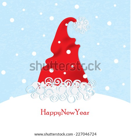 Santa hats in the form of a Christmas tree - stock vector