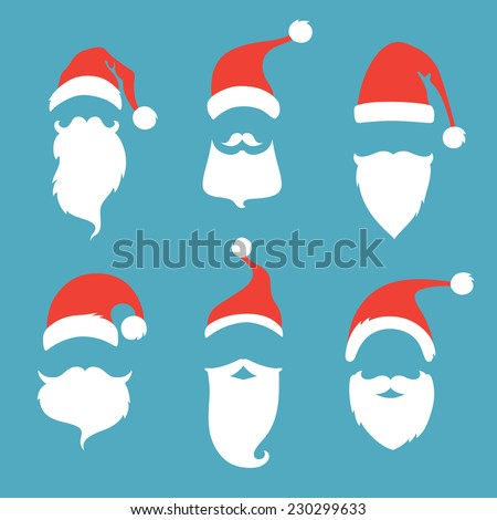 Santa hats, moustache and beards. Christmas elements for your festive design.