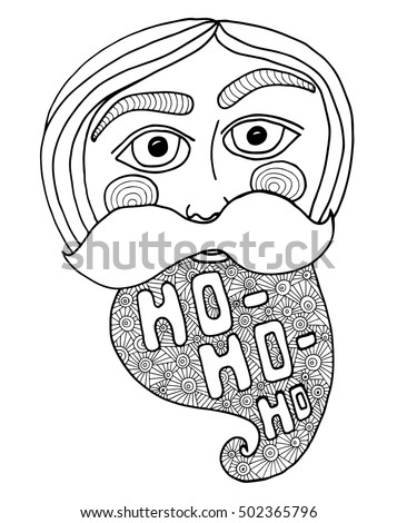santa head abstract vector illustration coloring book page for kids and adults
