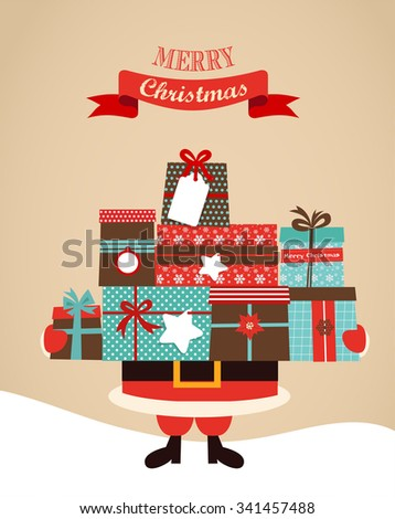 Santa Holding Christmas  Gifts. merry christms and happy new year - stock vector