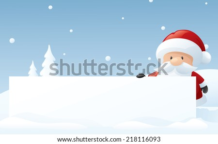 Santa holds up your message in a snowy setting.