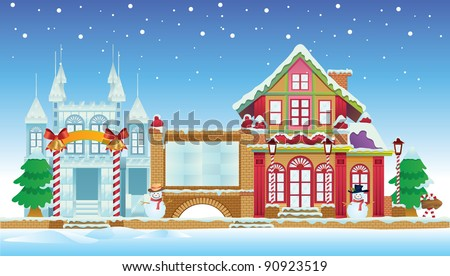 Santa House and Ice Castle - stock vector