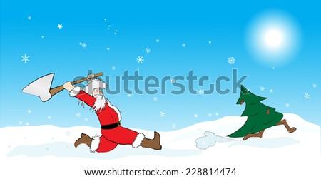 Santa hunting Christmas tree - stock vector