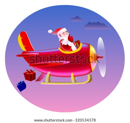Santa in a helicopter - stock vector