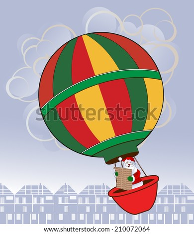Santa in a hot air balloon with Naughty and Nice list  over village or town  - stock vector