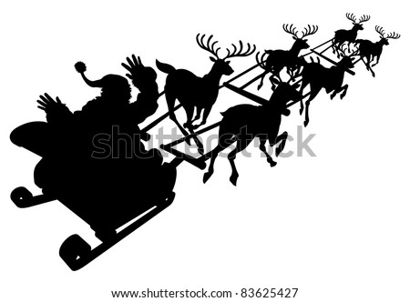 Santa in his Christmas sled or sleigh in silhouette - stock vector