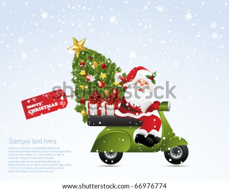 Santa on a motorcycle - stock vector