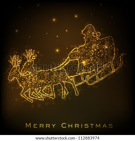 Santa on his sleigh, Christmas background. EPS 10. - stock vector