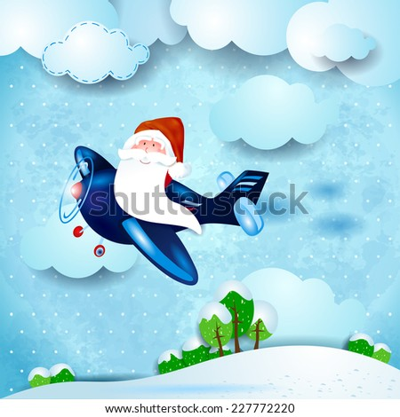 Santa on the plane, over the countryside. Vector eps 10 - stock vector