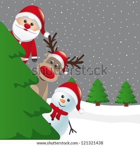 santa reindeer and snowman behind christmas tree - stock vector