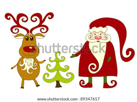 Santa, reindeer and tree. Isolated on white. Vector illustration.