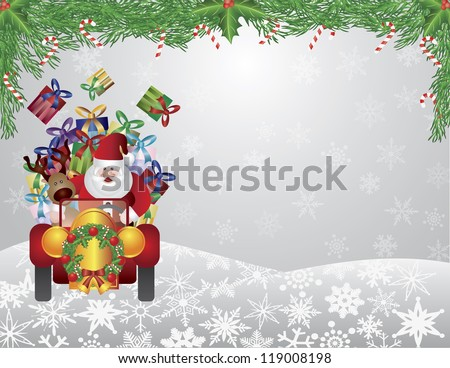 Santa Reindeer Driving Vintage Car with Christmas Wreath and Garland with Candy Cane on Snowflakes Background Vector Illustration