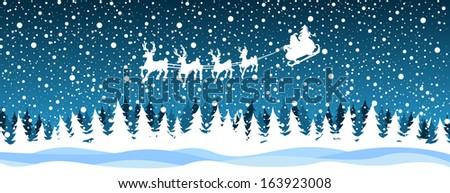 Santa reindeer over the forest - stock vector