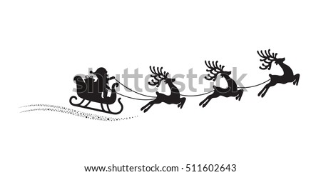 santa reindeer sleigh flying stars magic white background