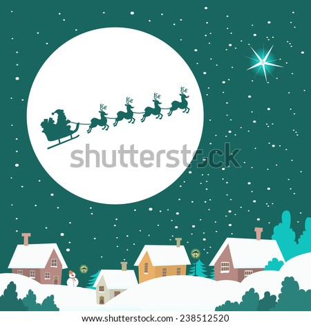 Santa riding his Sleigh across the Winter Sky - stock vector