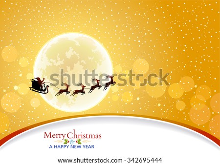 Santa riding on his sleigh across the glittering golden sky  - stock vector
