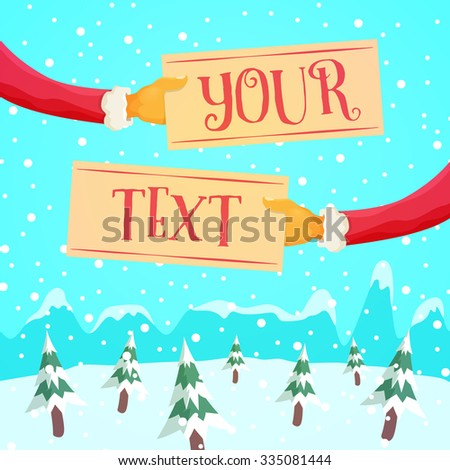 Santa's Arms Holding Signs - Cool Christmas theme for your designs - stock vector