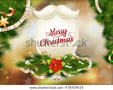 Santa s beard, Merry Christmas and Happy New Year card design. EPS 10 vector file included