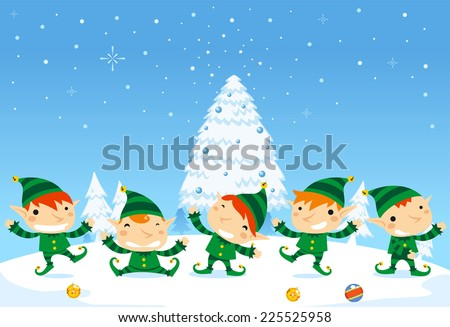 Santa�´s Elves christmas celebration - stock vector