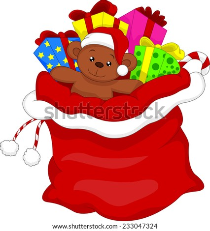 Santa's gift bag full of toys and gifts over white - stock vector