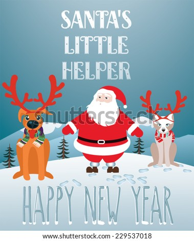 Santa's little helper - stock vector