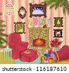 Santa's Living Room - Detailed, hand drawn: Cheerful living room with fireplace, armchair, footstool and side table; Santa Clause's favorite wall paintings, blooming poinsettia, sack full of gifts... - stock vector