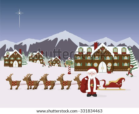Santa's North Pole village scene.  Santa with his sleigh, elves, Mrs Claus, and Santa's workshop in a winter scene.