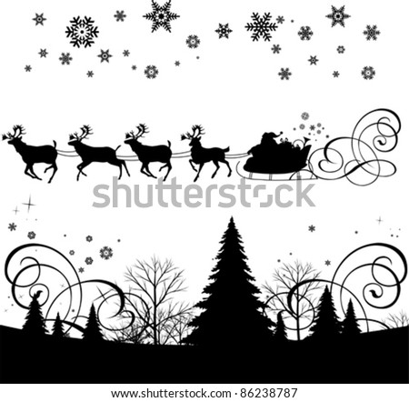 Santa's sleigh.  All elements and textures are individual objects. Vector illustration scale to any size. - stock vector
